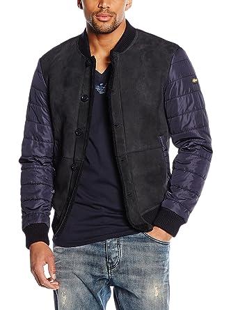 Armani Jeans blouson homme en cuir blu EU 50 (UK 40) B6B32 ME 15 ... e3ec7f52581