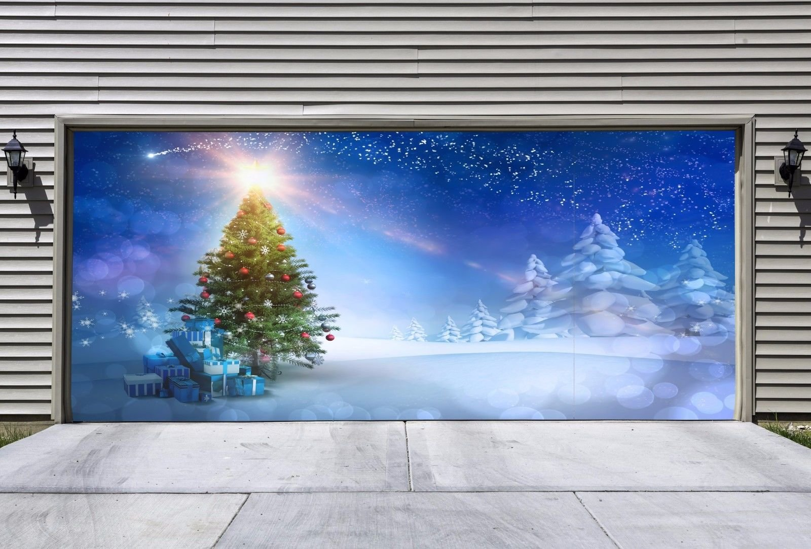 Christmas Tree Garage Door Covers Banners for 2 Car Outdoor Full Color House Billboard Garage Door Holiday Christmas Decor 3D Effect Murals Made In The USA size 82x188 inches DAV36