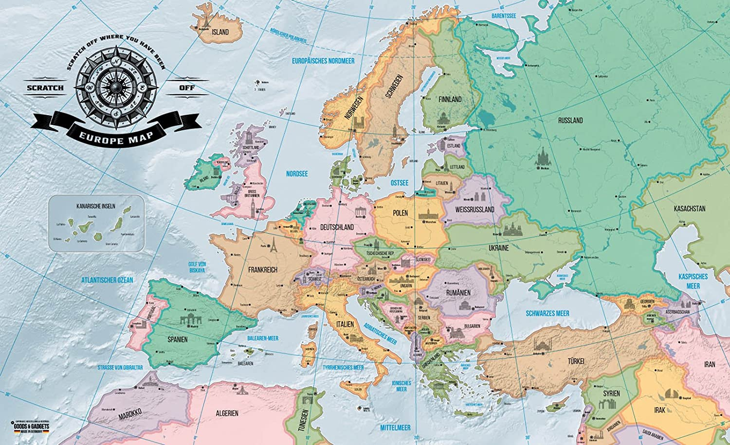 Scrape Off Europe Map Deluxe Personalized Travel World Map Wall