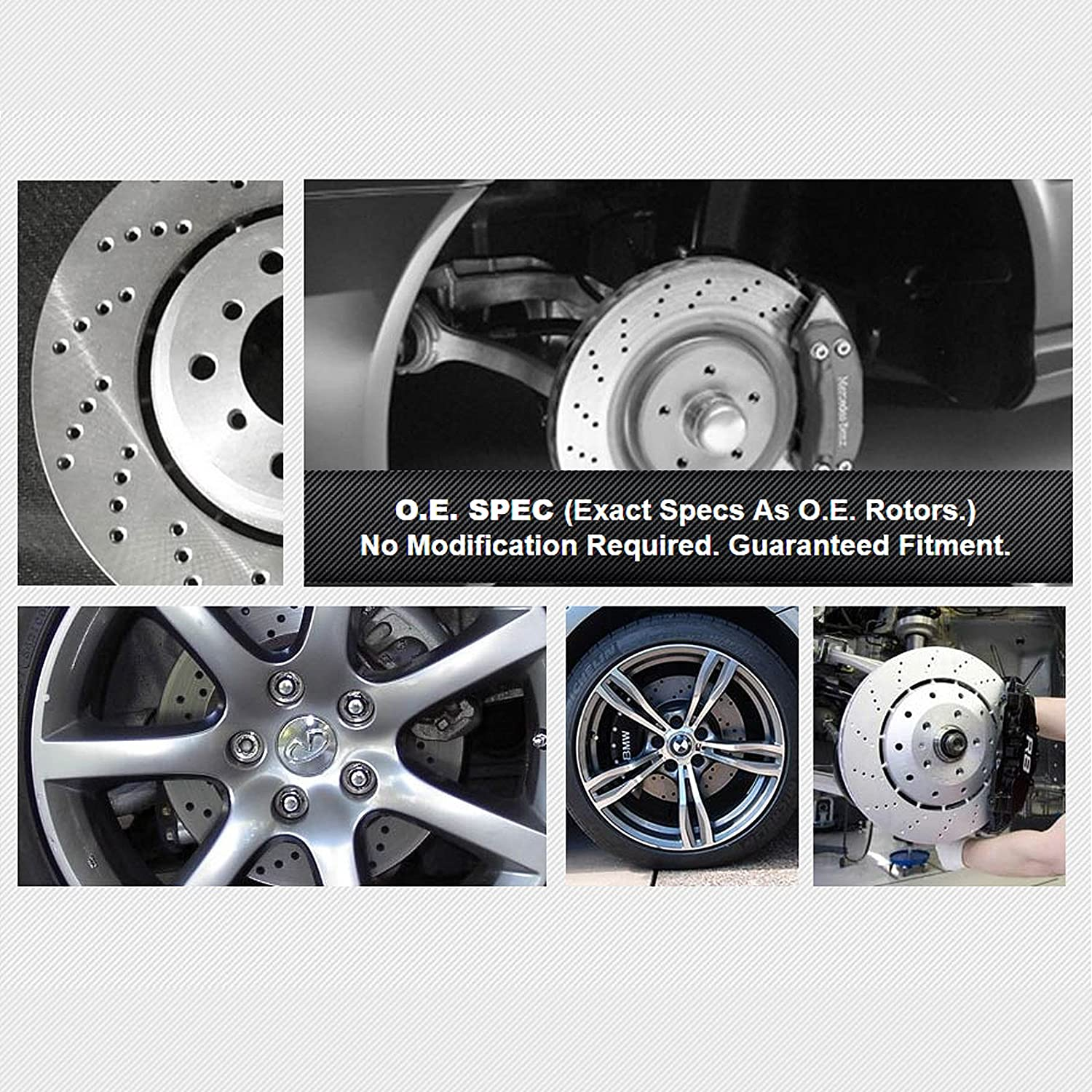 Fit 2013 Mercedes-Benz ML63 AMG Front PSport Drilled Brake Rotors+Ceramic Pads
