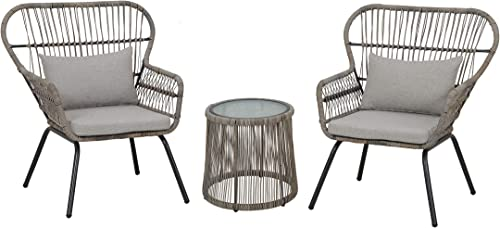 GREARDEN 3-Piece Patio Wicker Conversation Bistro Set