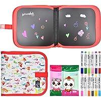 """Pinsheng Tabla de Dibujo Portátil para Niños, 8,6"""" x8,0 Tablero de Dibujo de Graffiti Borrables a Doble Cara con 12…"""