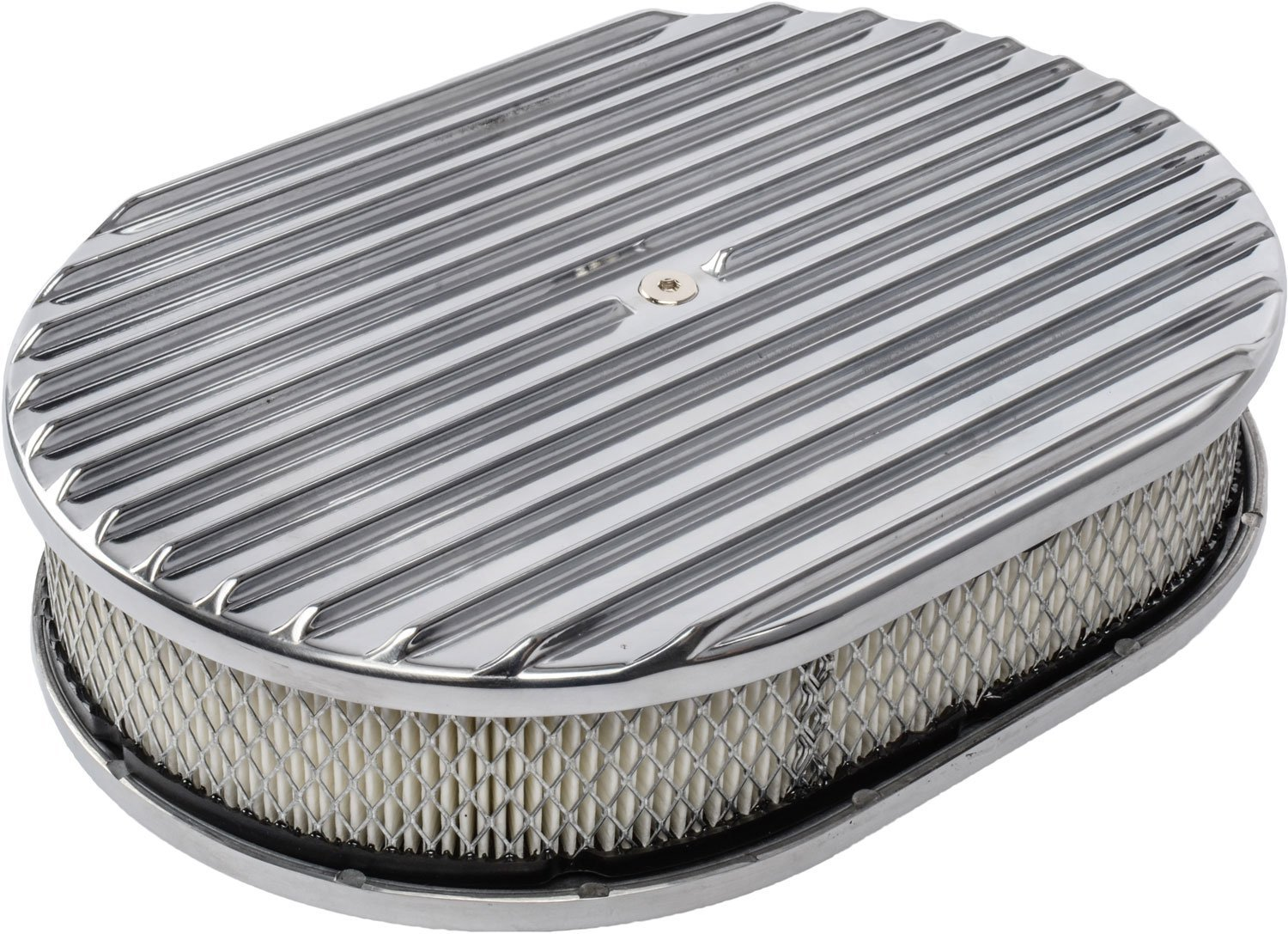 JEGS 500092 Finned Aluminum Air Cleaner Kit Oval 12L x 8-1//4W x 3H Polished