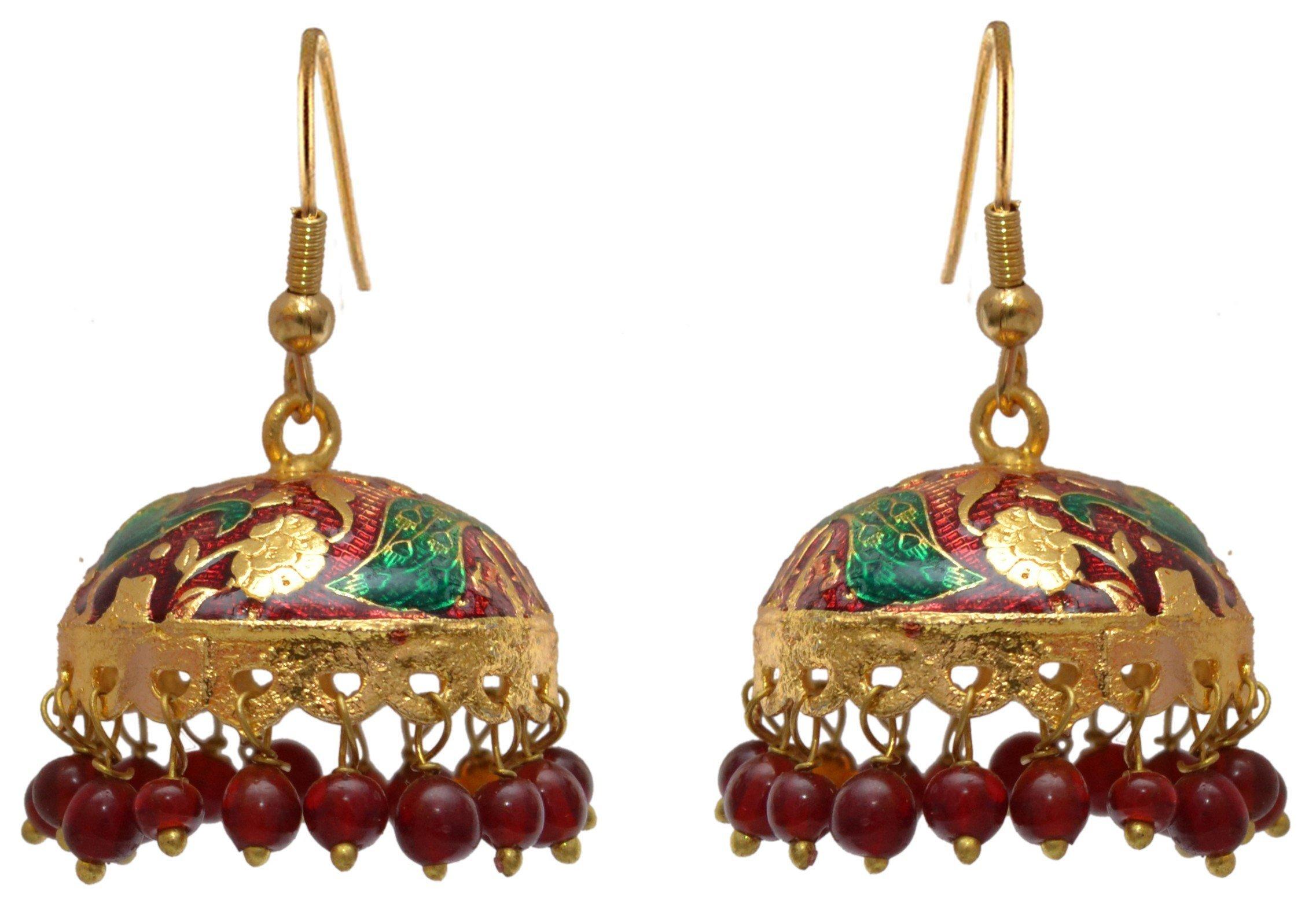 Sansar India Small Lightweight Meenakari Jhumka Indian Earrings Jewelry for Girls and Women 1401