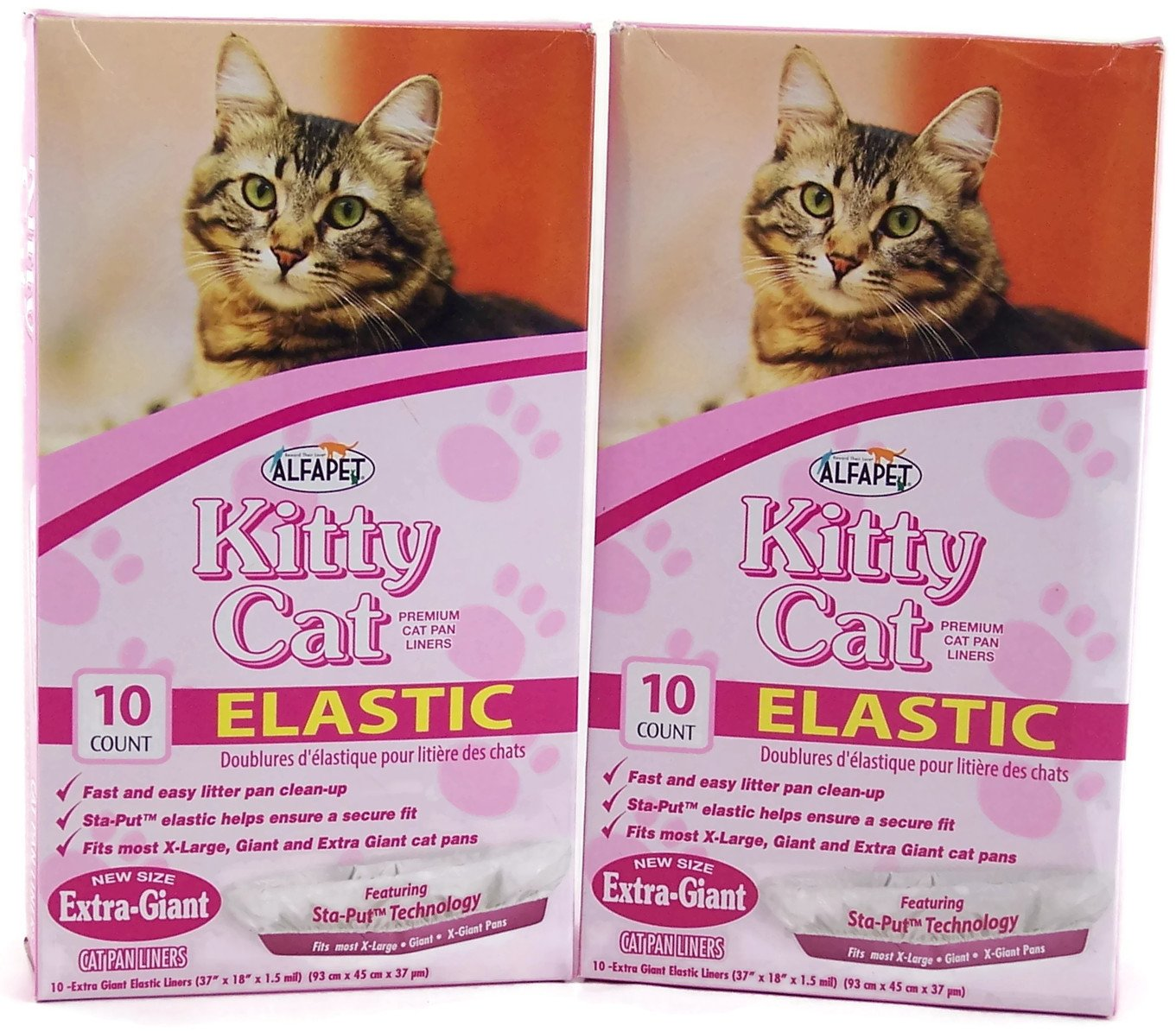 Alfapet Kitty Cat Extra-giant Elastic Sta-put Litter Box Liners 10 Ct (Pack of 2)
