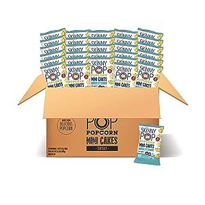 SkinnyPop Sea Salt Popcorn Mini Cakes Case, 30ct, 0.8oz Individual Snack Size Bags, Skinny Pop, Healthy Popcorn Snacks, Gluten Free