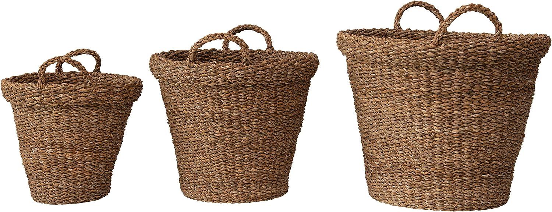Creative Co-op Hand-Woven Seagrass Handles, Set of 3 Baskets, Natural