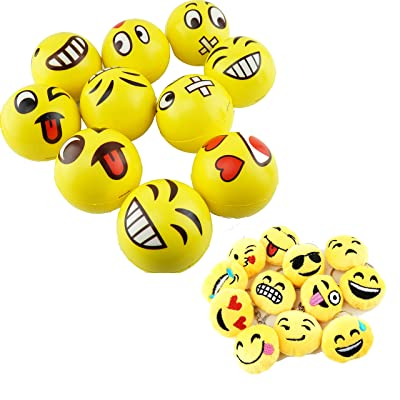 Customerfirst Set of 12 Jumbo Emoji Face Yellow Foam Soft Stress Toy Balls (4 inches) + Set of 12 Emoji Key Chains (1.5 inches): Sports & Outdoors