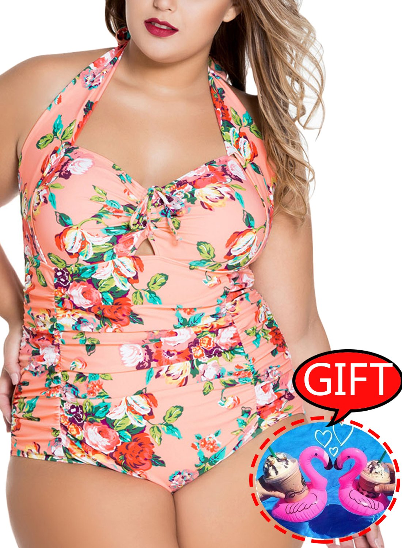 Women's Swimsuit Plus Size Monokini Halter Printed Floral Tummy Control One Piece Sexy Bathing Suit, D-pink Flower, 【US 16-18】XXL