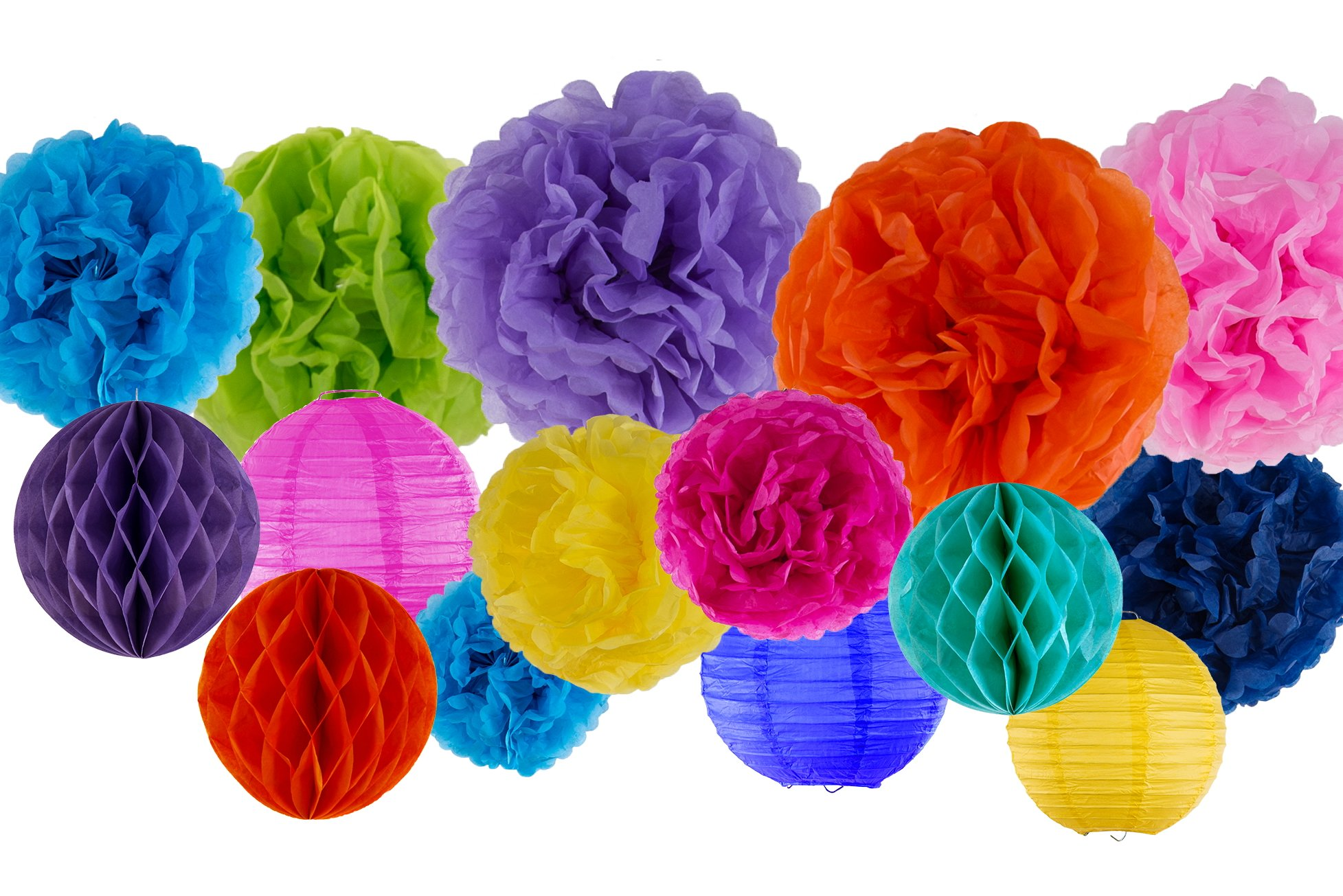 VIDAL CRAFTS 30 Pcs Party Tissue Paper Pom Poms Kit (14'', 10'', 8'', 6''), Paper Flowers, Paper Lanterns and Honeycomb Balls for Birthday, Baby Shower, Nursery Decor (Multicolor)