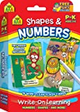 SCHOOL ZONE - Shapes & Numbers Write-On Learning Wipe-Clean Flash Cards, Ages 3 through 6, Readiness Skills for Kindergarten and Preschool, Includes Dry Erase Marker