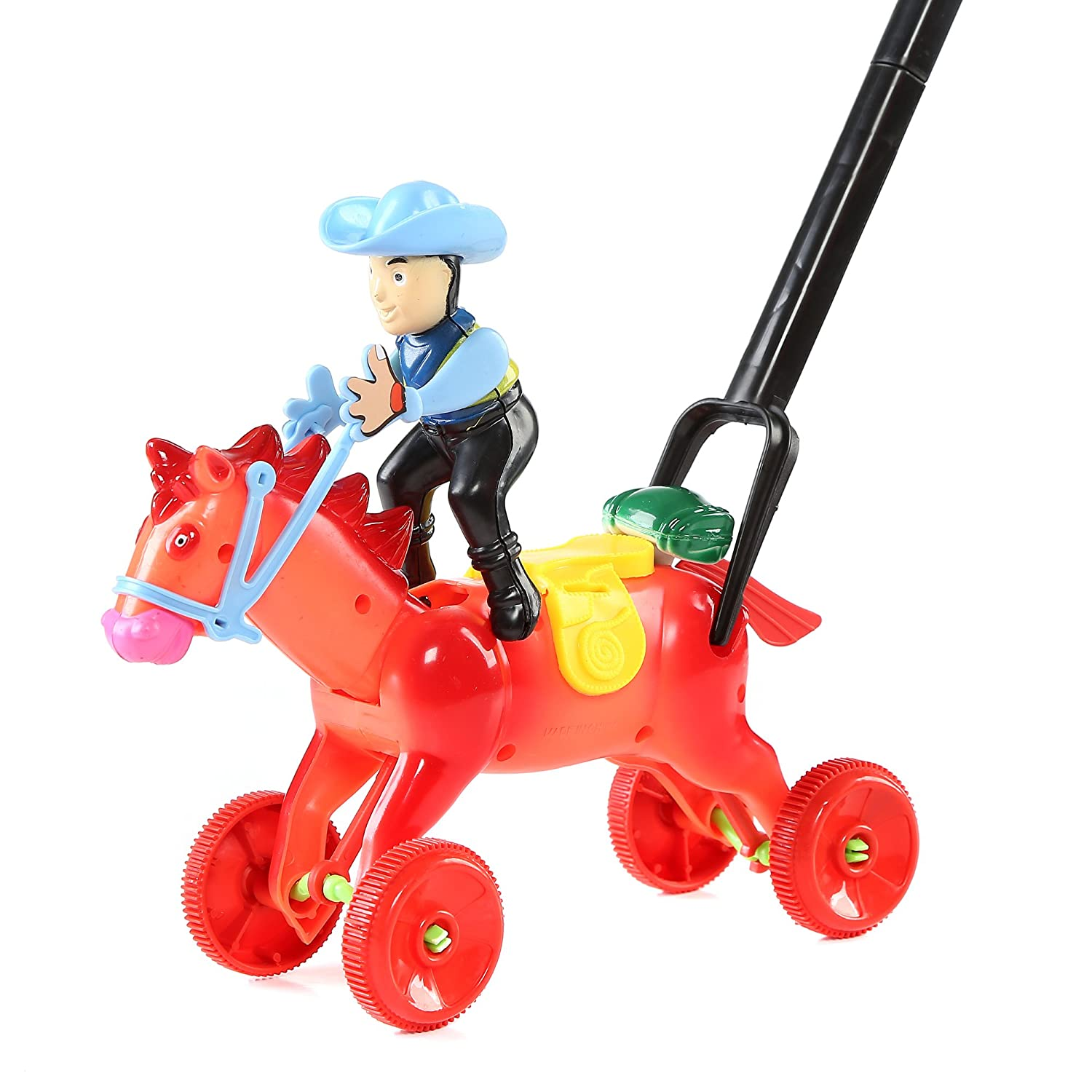 Fun Central BC762 1 Pc 8 Inches Horse Push Toy Pushing Toy for Kids Outdoor Push Toys Classic Push and Pull Toys Push Around Toy for Baptism Birthday and Party Prizes