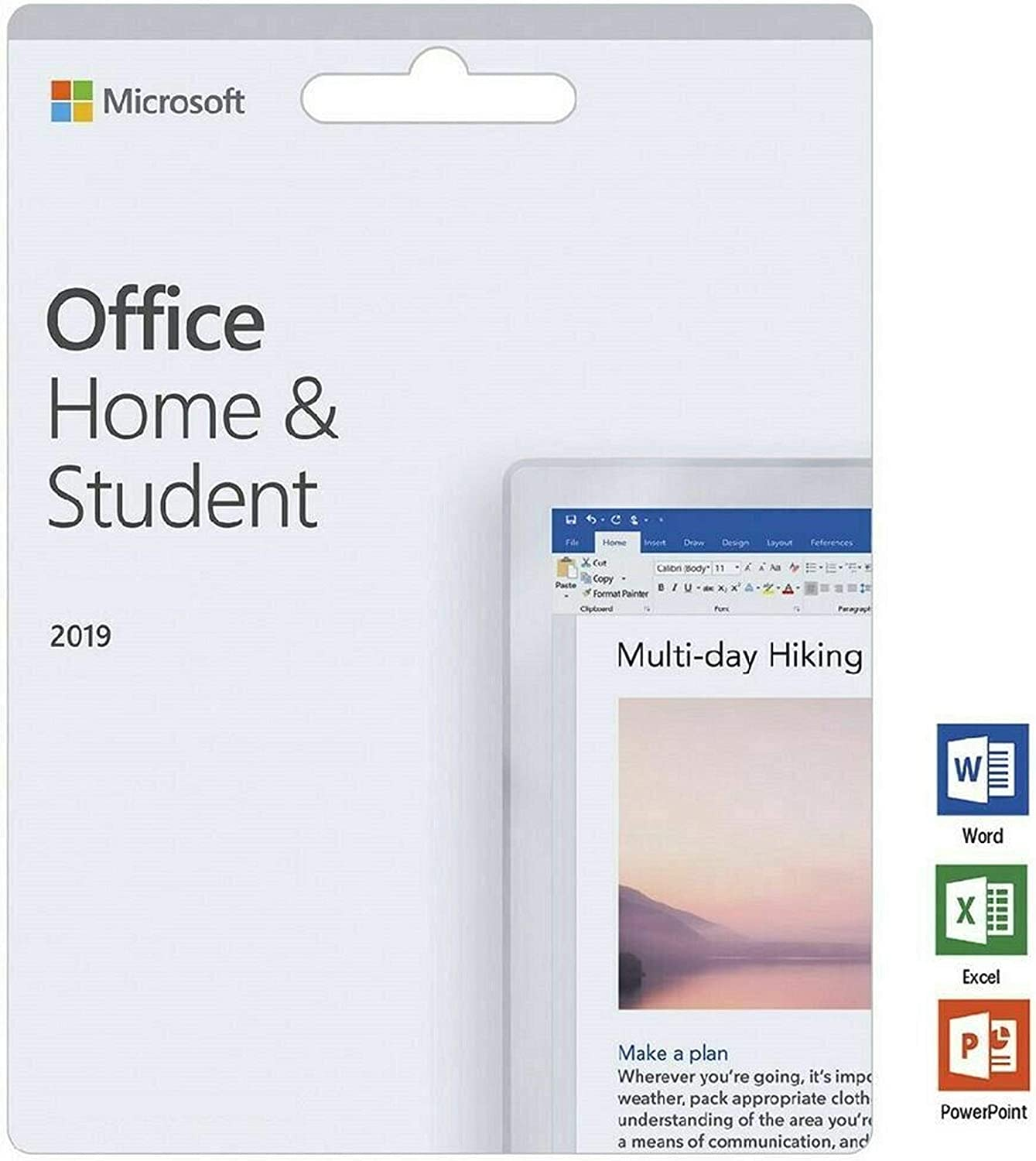 Office Home and Student 2019 for 1 PC | KeyCard (not CD) | Lifetime License | New
