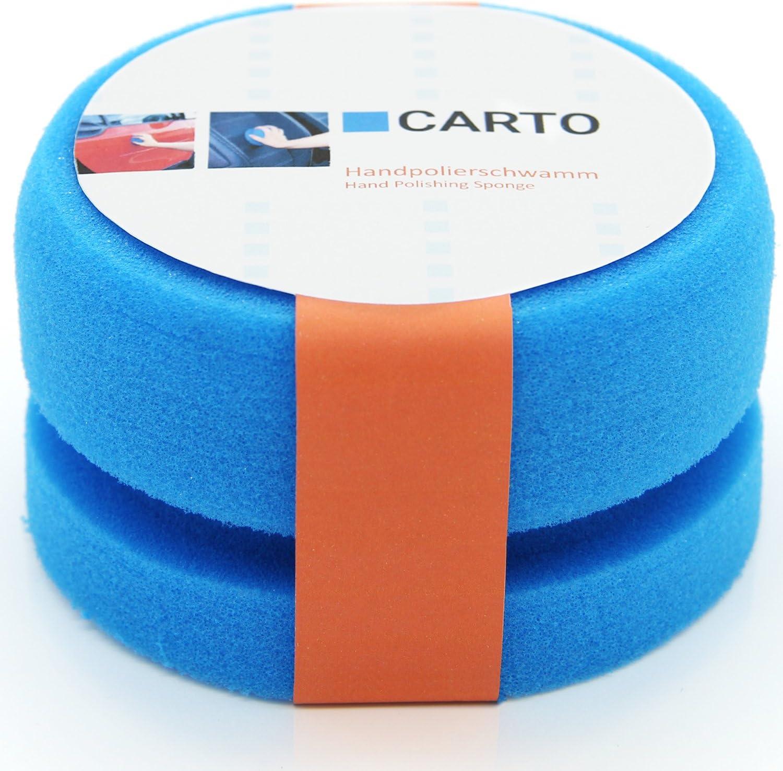 Carto Profi Handpolierschwamm Mit Griffleiste Weich Blau Auto Polierschwamm Auto Schwamm Polier Pad Auto