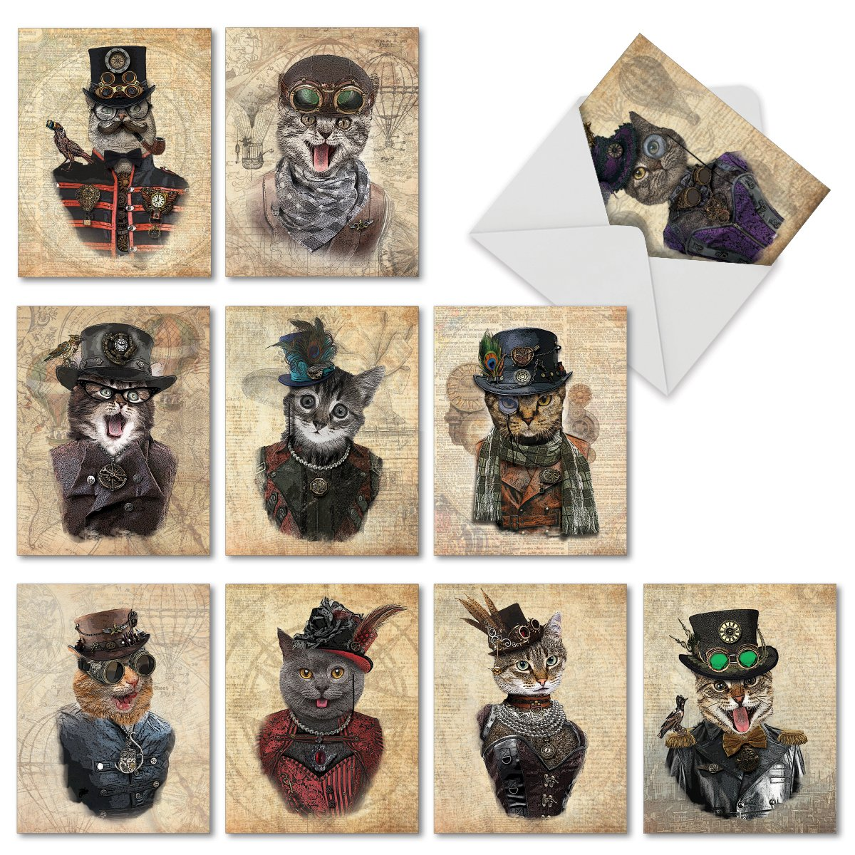 Amazon Steampunk Cats Assorted Greeting Cards With Envelopes