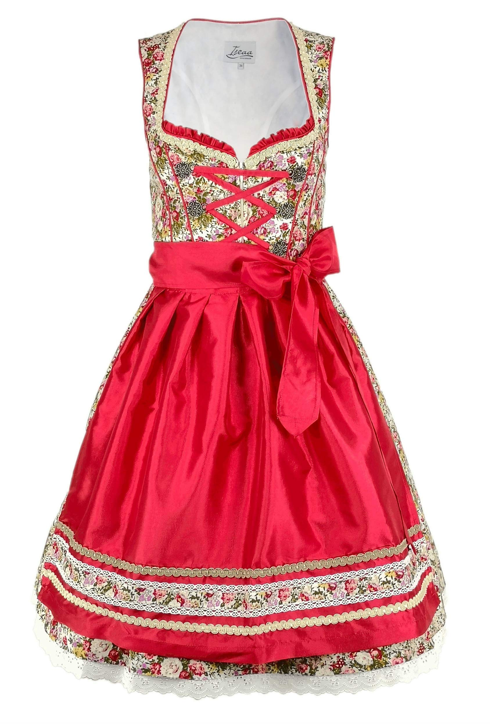 Dirndl 2 pcs. Traditional Dress Lara with Apron in red 40
