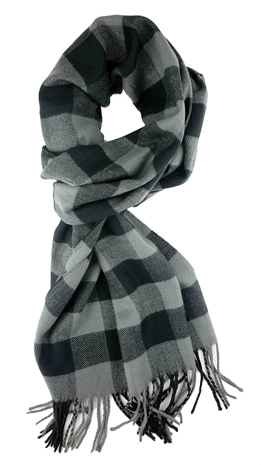 Plum Feathers Plaid Check and Solid Cashmere Feel Winter Scarf 46-09-bg
