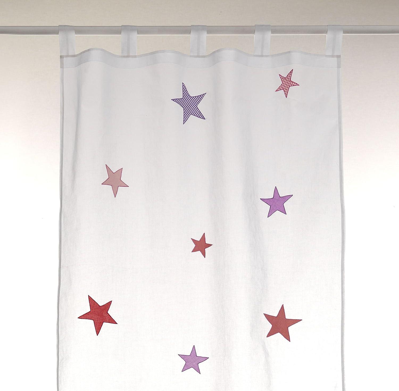 Bambiente Baby Kinderzimmer Vorhnge Gardinen Stars Girls 105x265cm Mit Schlaufen Baumwolle Weiss Transparent 2 Schals Wohnzimmer Esszimmer Gstezimmer