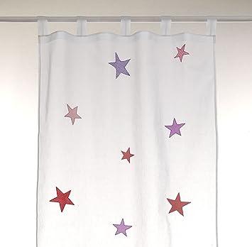 Bambiente Baby Kinderzimmer Vorhnge Gardinen Stars Girls 105x265cm Mit Schlaufen Baumwolle Weiss Transparent 2