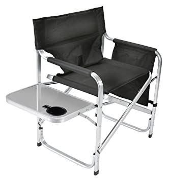 Superb Faulkner Aluminum Director Chair With Folding Tray And Cup Holder, Black