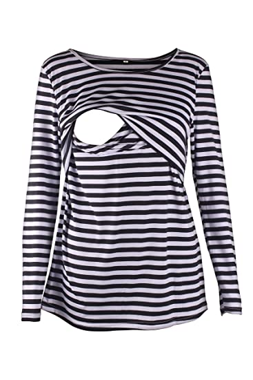 f10fb639c9959 Image Unavailable. Image not available for. Color: Women's Maternity  Nursing Tops Long Sleeve Breastfeeding Tee Shirt Striped