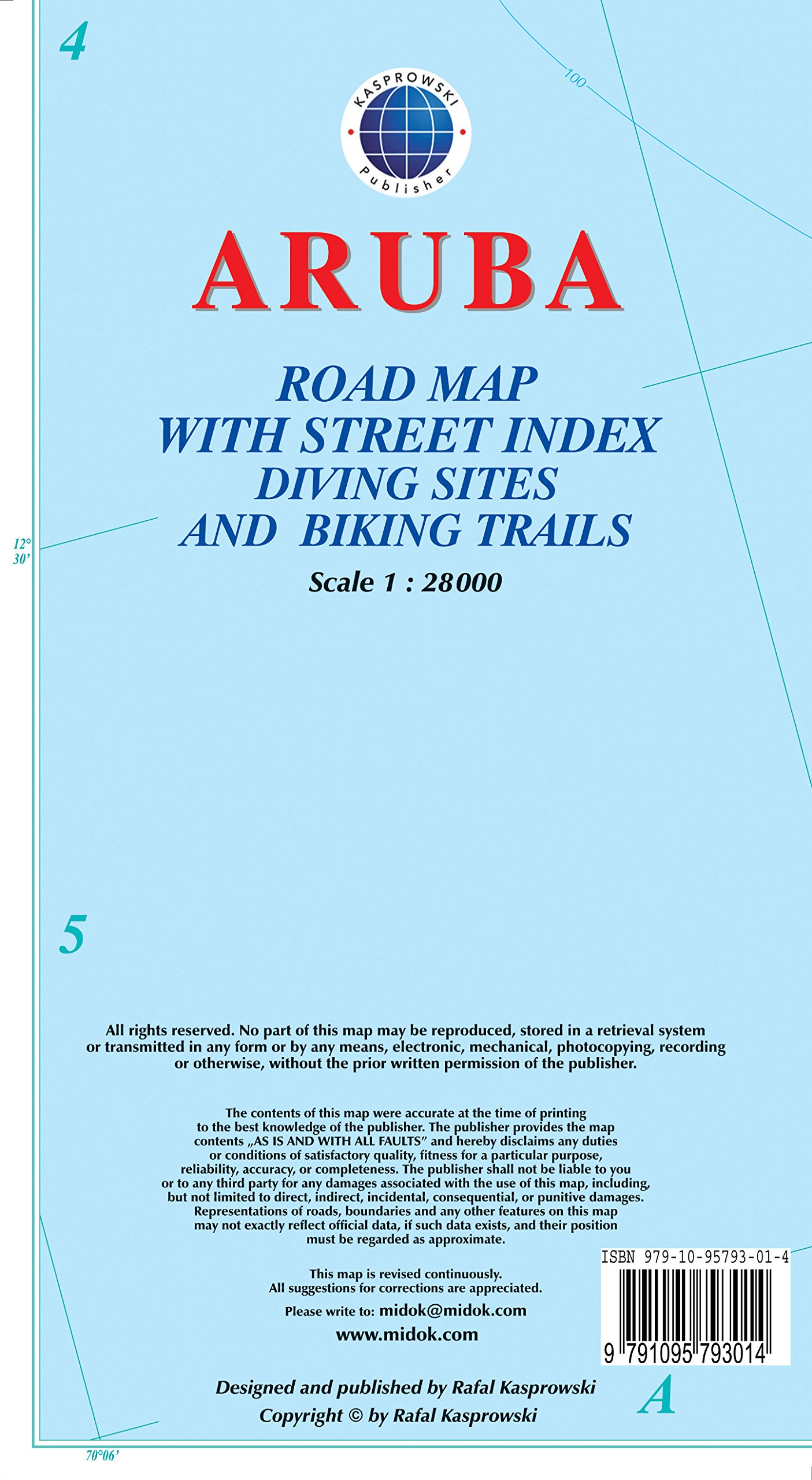 Aruba Road Map with Street Index Diving Sites and Biking Trails