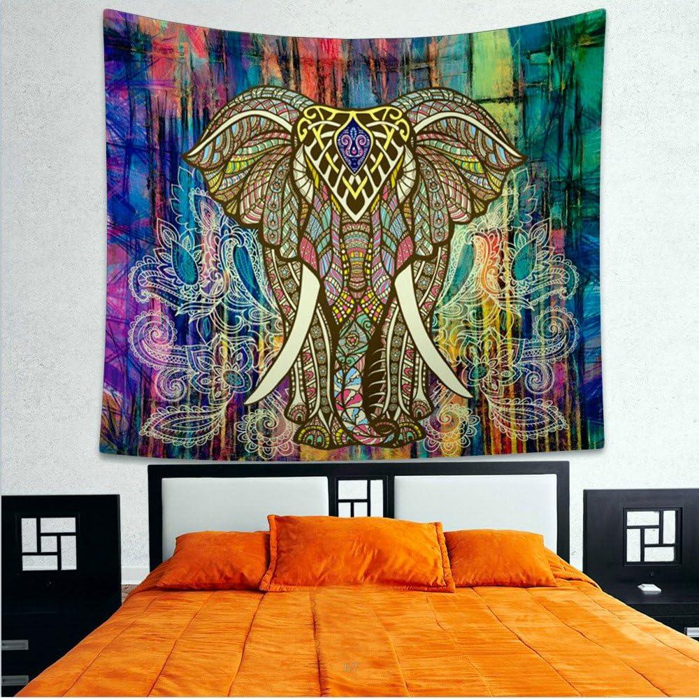 Large Queen Blue Elephant Mandala Tapestry Bedspread Bedsheet Beach Dorm Boho Bo