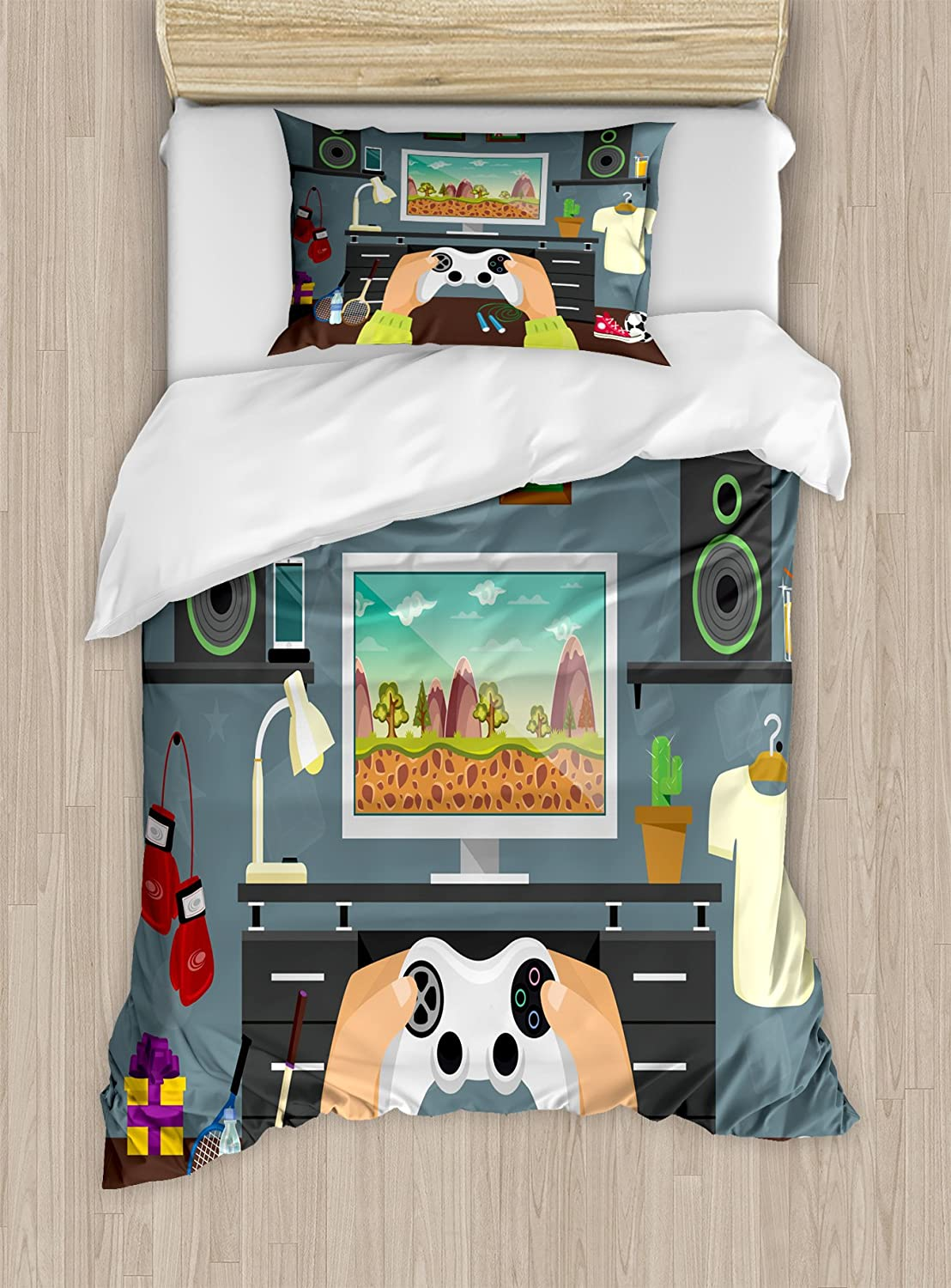 Lunarable Gamer Duvet Cover Set, Gaming Guy in His Flat with Diplomas Loud Speakers Boxing Gloves Jump Rope and Trophy, Decorative 2 Piece Bedding Set with 1 Pillow Sham, Twin Size, Dark Grey