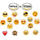 "144 2"" Temporary Emoji Tattoos - 16 Assorted Emoticon Styles - Fun Gift, Party Favors, Party Toys, Goody Bag Favors"
