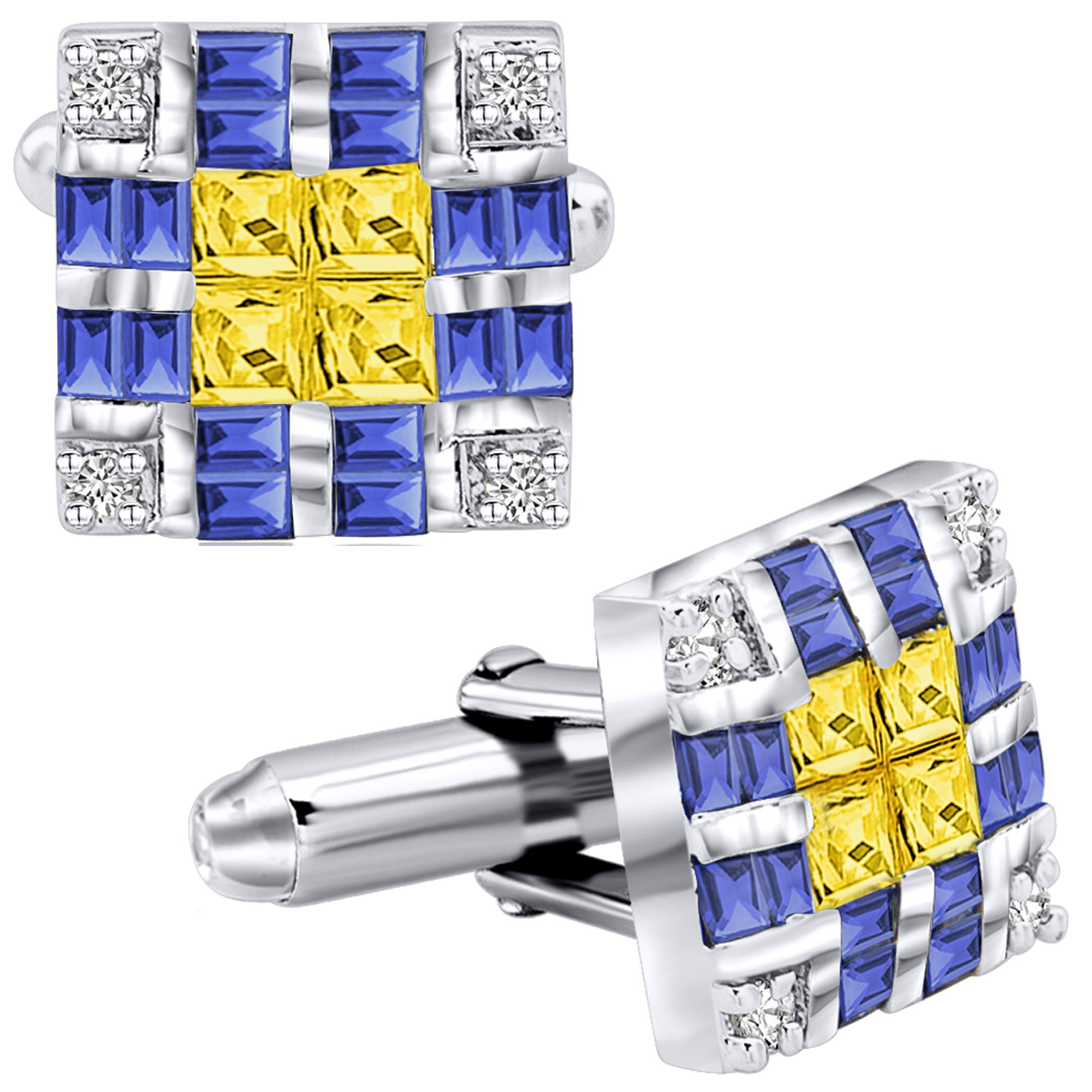 Men's Sterling Silver .925 Original Design Cufflinks with Canary Yellow Princess-Cut, Azure Blue Baguette-Cut and Round-Cut CZ Stones, Platinum Plated, Solid Hinges, 15 mm