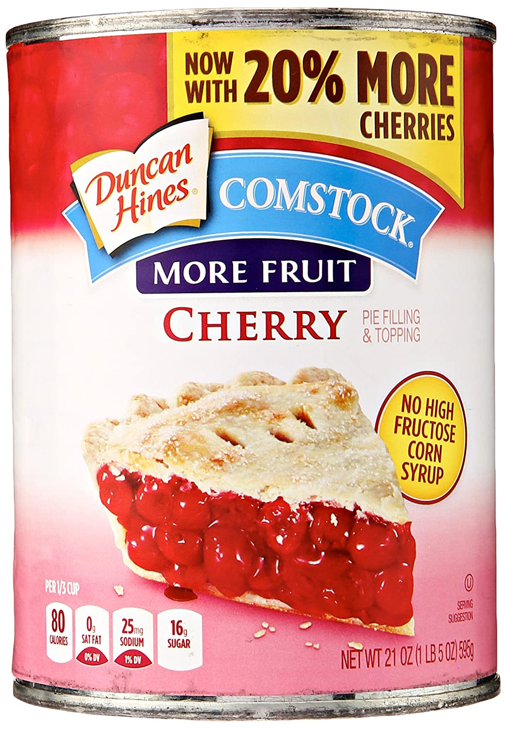 Comstock More Fruit Pie Filling & Topping, Cherry, 21 oz