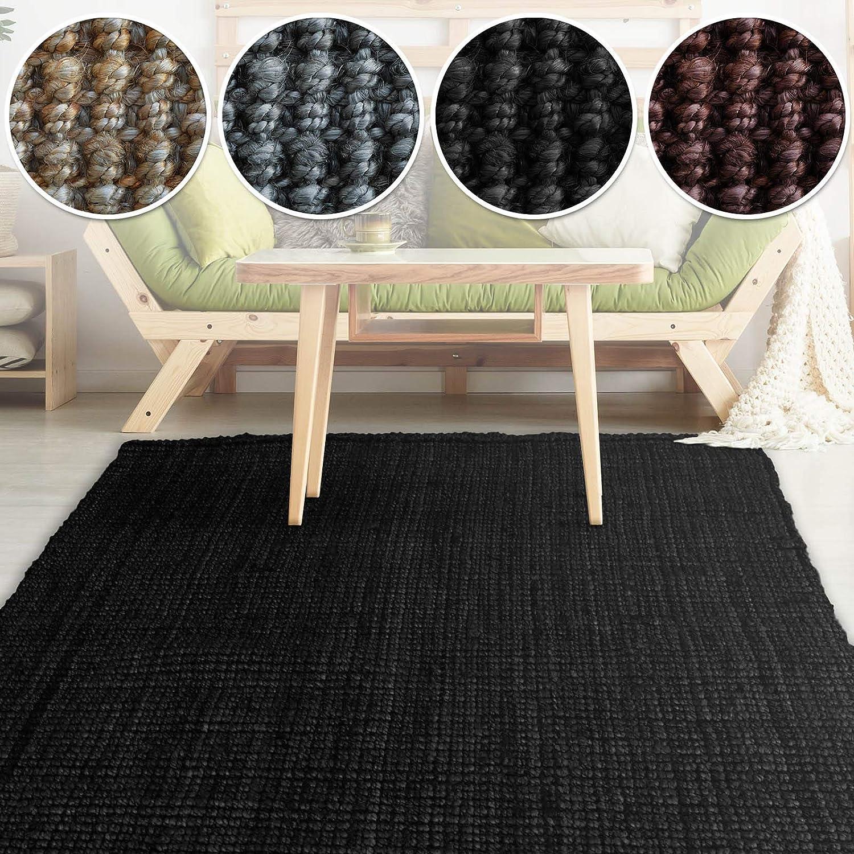 Casa pura Jute Teppich Webteppich aus Naturfaser   Moderner Juteteppich   Natürliche Sisal Optik für Wohnzimmer, Esszimmer und Flur   Große Auswahl   Schwarz - 160x230 cm