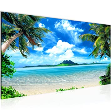 Bilder Strand Palmen Wandbild 100 x 40 cm Vlies - Leinwand Bild XXL Format  Wandbilder Wohnzimmer Wohnung Deko Kunstdrucke Blau 1 Teilig - Made IN ...