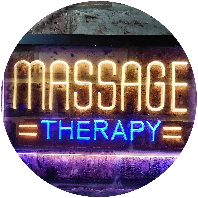 Blau & Gelb 16\ ADVPRO Massage Therapy Dual Farbe LED Barlicht Neonlicht Lichtwerbung Neon Sign Blau & Gelb 400 x 300mm st6s43-i0364-by