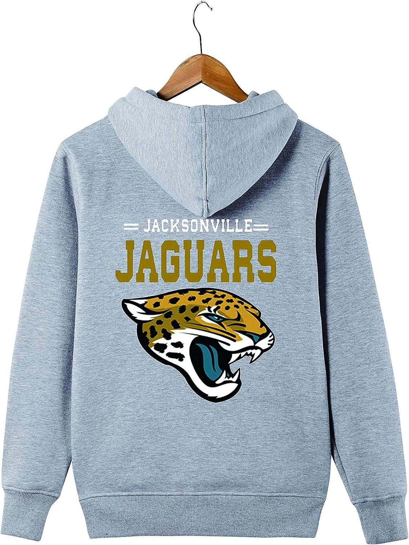 Mens Long Sleeve Hooded Letters Print Jacksonville Jaguars Football Team Solid Color Zipper Hoodies