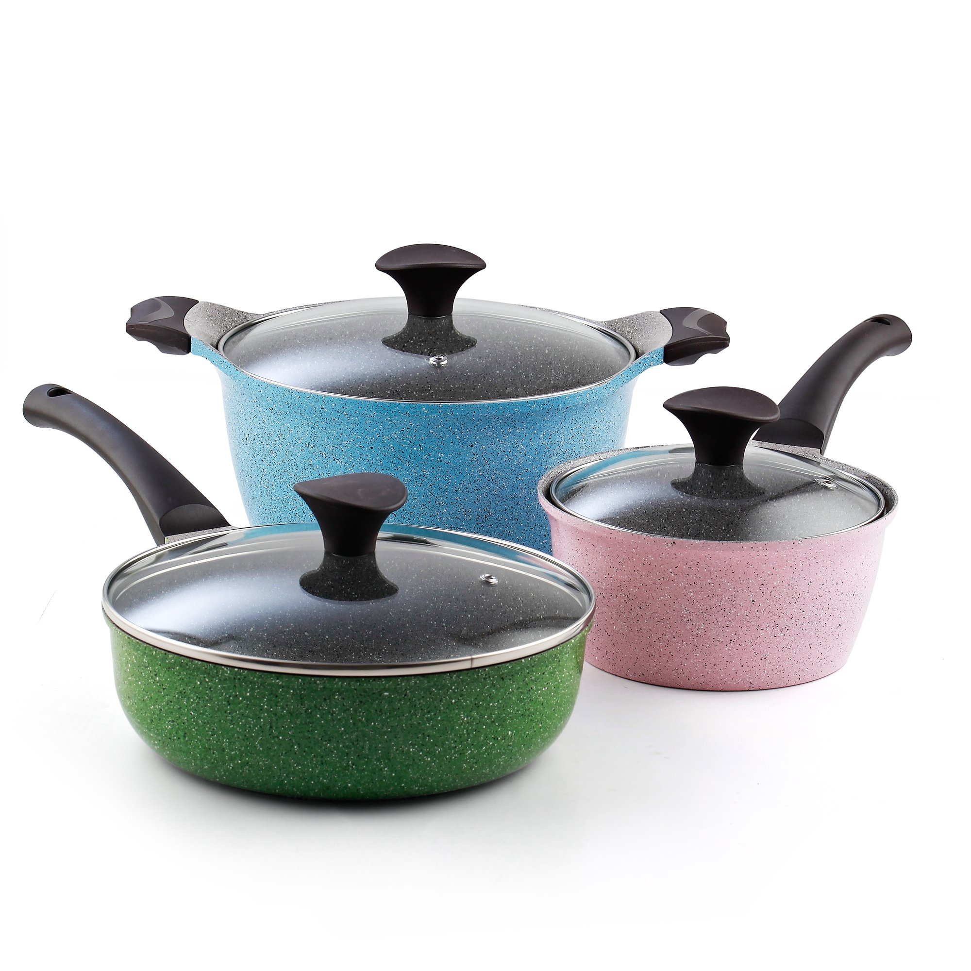 Cook N Home 6-Piece Nonstick Ceramic Coating Cookware Set, Multicolor