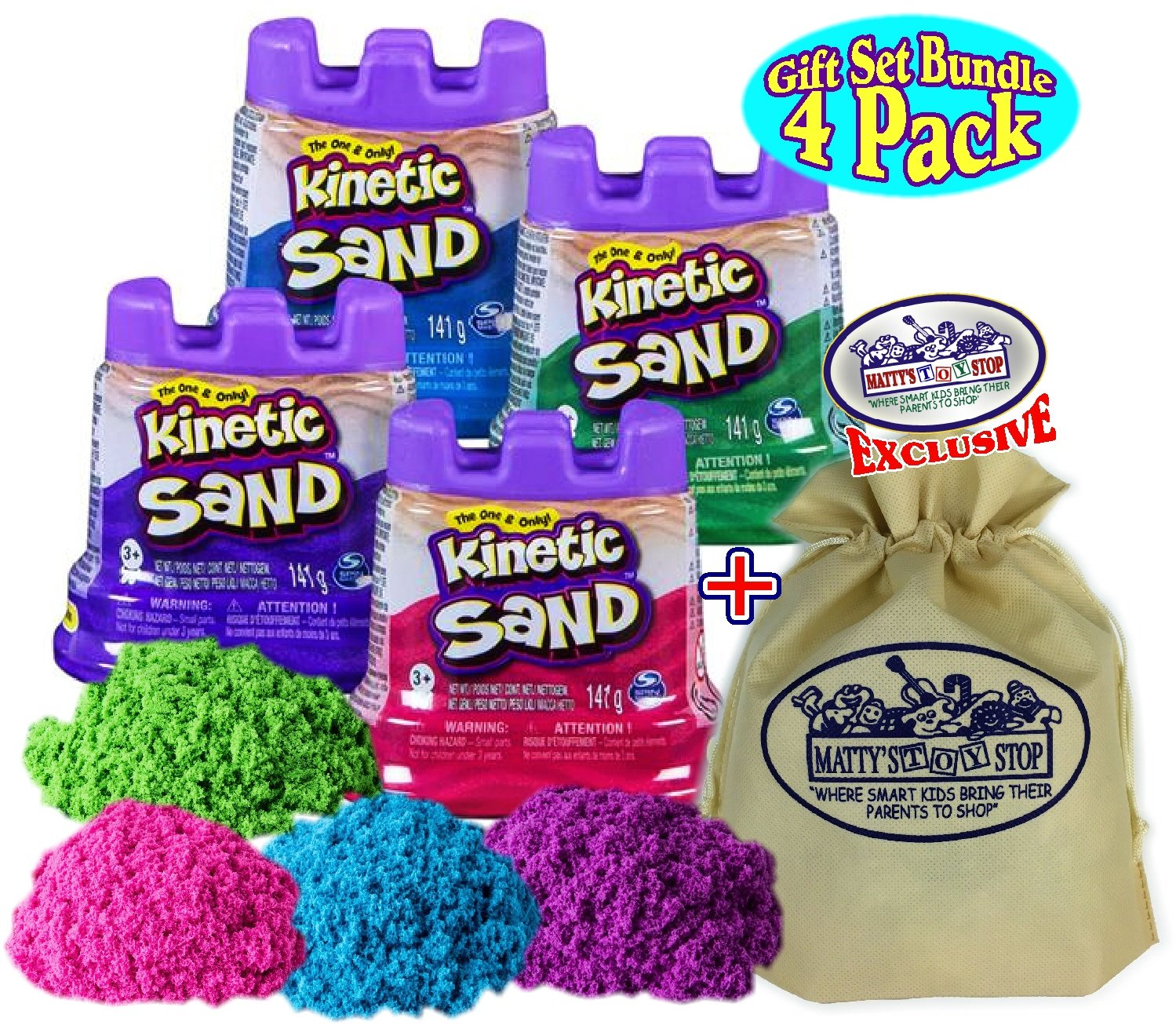 4 Pack Toysmith Containers Pink 4 Pack Purple /& Blue Gift Set Bundle with Bonus Matty/'s Toy Stop Storage Bag Kinetic Sand Modeling Sand 5oz Purple /& Blue Gift Set Bundle with Bonus Mattys Toy Stop Storage Bag Green