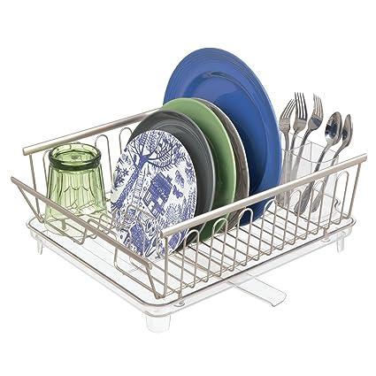 mDesign Juego de 2 escurridores de platos con bandeja de goteo – Rejilla  escurreplatos para encimera 85f4eb94b716