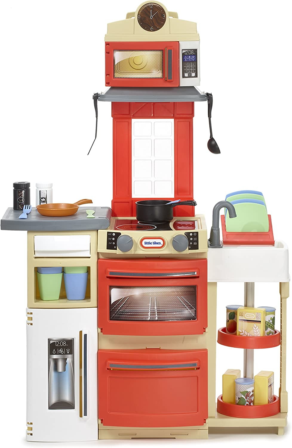 Amazon Com Little Tikes Cook N Store Kitchen Playset Red Toys Games