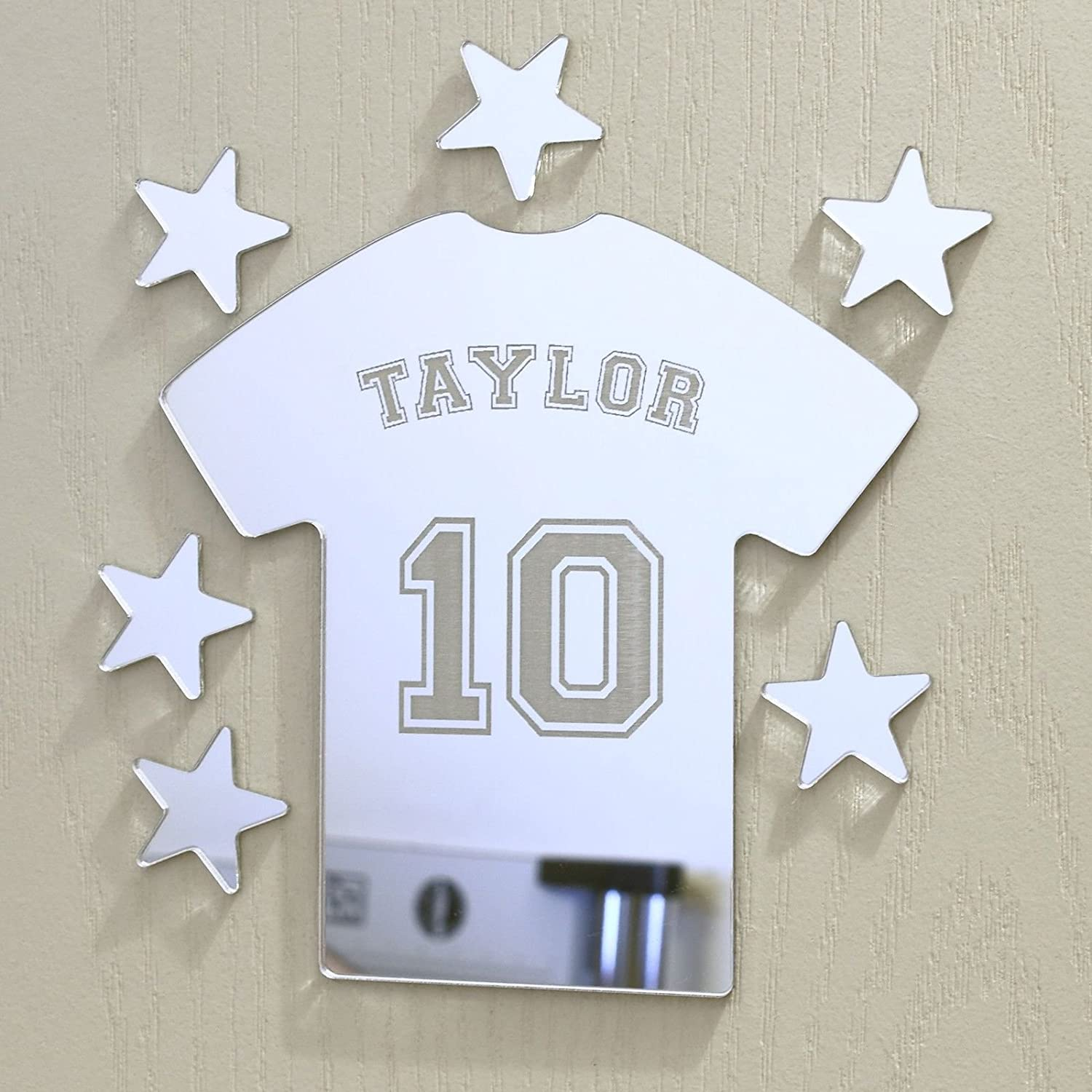 Laserables Football Tshirt Mirror Set Personalised Door Name Plaque Boy Girls Bed Room Sign