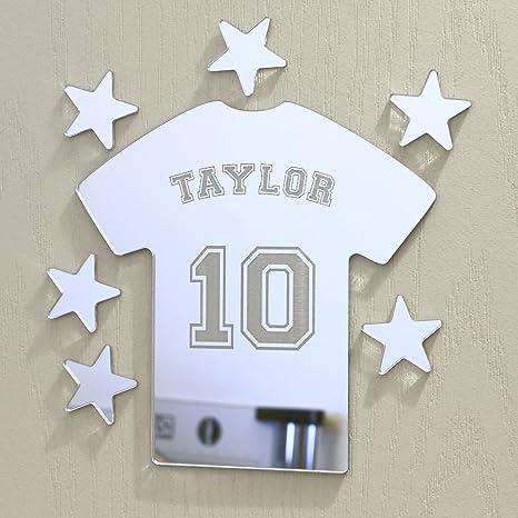 Espejo personalizable con forma de camiseta de fútbol Placa de nombre para puerta personalizada