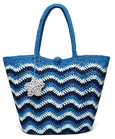 edadf7f714d7 Daisy Rose Large Handmade Crochet Summer Beach Tote Bag with Inner Pouch