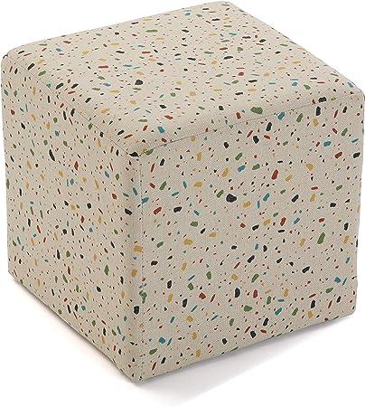 Oferta amazon: Versa Terrazo Taburete Cubo Cuadrado Puff Reposapies, Algodón y Estructura de Madera, Blanco y Multicolor, 35 x 35 x 35 cm