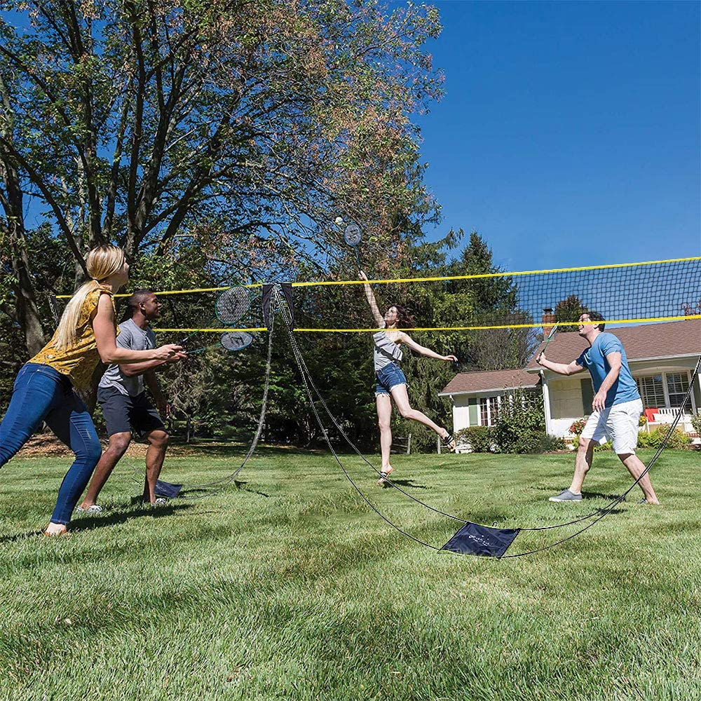 Darhoo Portable Badminton Net Set, with Stand Carry Bag, Nylon Sports Net and Carbon Fiber Poles.Folding Volleyball Tennis Net for Indoor, Backyard, Beach - Easy Setup No Tools or Stakes Required : Sports & Outdoors