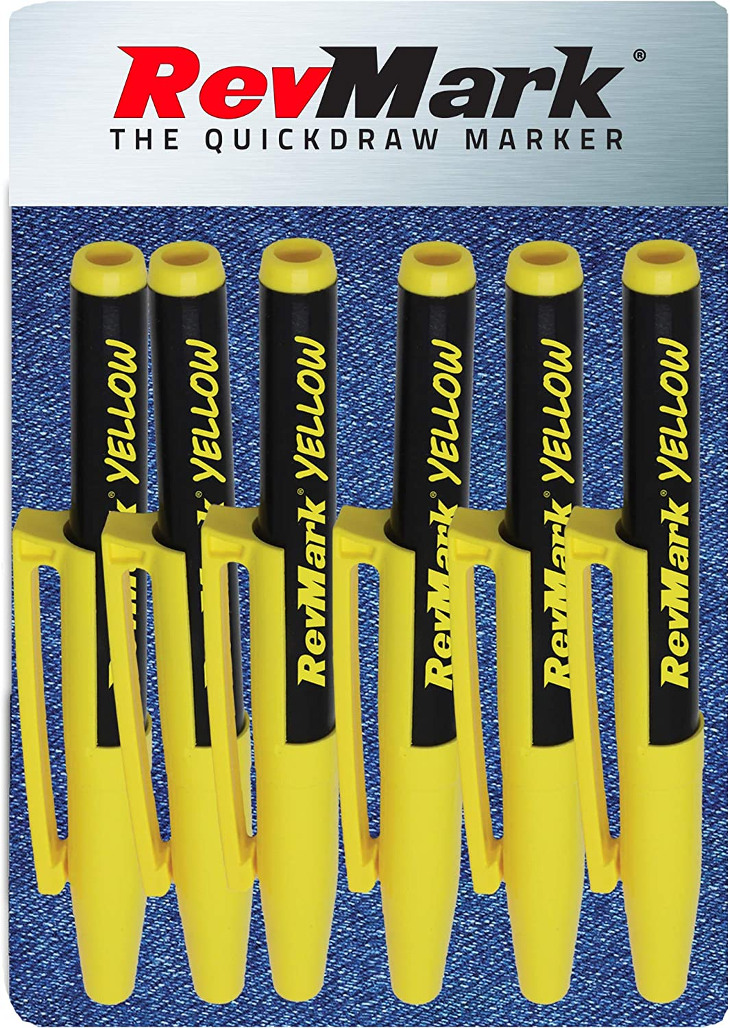 RevMark Industrial Marker - Yellow Ink - Standard Tip - 6 Pack, Made in the USA. Bright Ink perfect for metal, pvc, pipe wood. Replaces paint marker