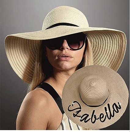 Printing Corner Sombrero de paja personalizado con nombre de purpurina para verano, playa, sombrero