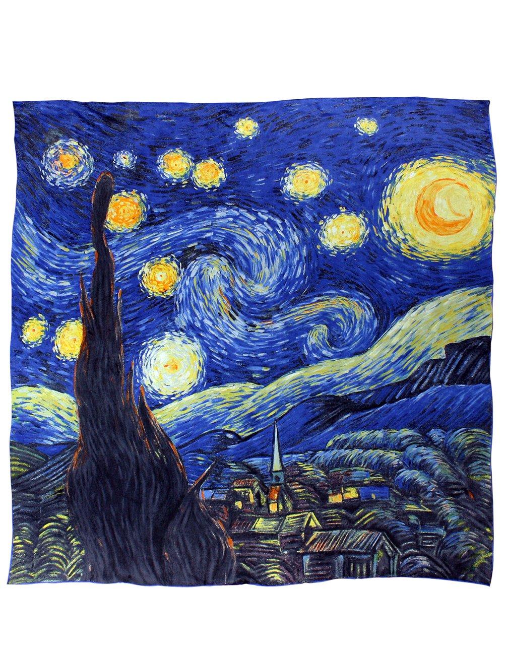 Dahlia Women's 100% Luxury Square Silk Scarf - Van Gogh''Starry Night'' - Blue by Dahlia