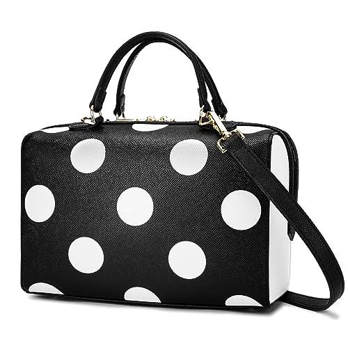 9c19268a2ea5 UtoteBag Women Tote Bag Top Handle Bag M-size Genuine Leather Handbag  Purser Polka Dots Satchel Shoulder Bag