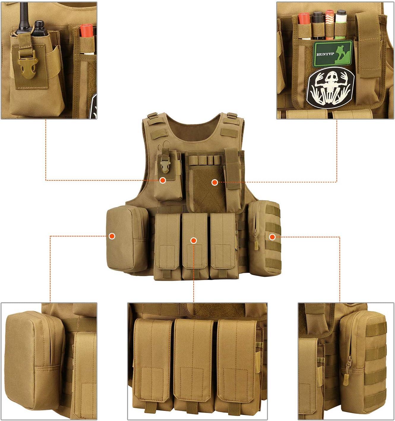 Huntvp Gilet Tactique Arm/ée Militaire Gilet Molle Airsoft Gilet pour Hommes Femmes Camping Randonn/ée Chasse /À Lext/érieur