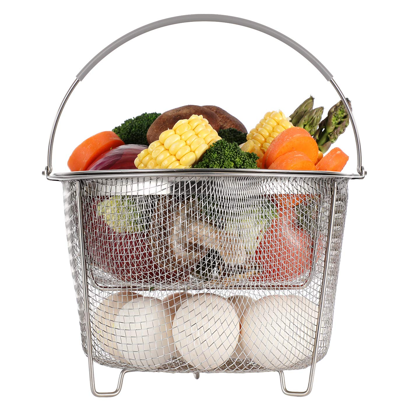 Aozita Steamer Basket for Instant Pot Accessories 6 qt or 8 quart - 2 Tier Stackable 18/8 Stainless Steel Mesh Strainer Basket - Silicone Handle - Vegetable Steamer Insert, Egg Basket, Pasta Strainer by Aozita